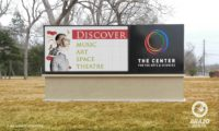 The-Center-for-the-Arts-&-Sciences-led-monument-sign-Clute,-Texas
